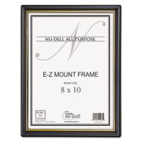 NuDell EZ Mount Document Frame/Accent, Plastic, 8 x 10, Black/Gold NUD11800