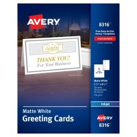 Avery Half-Fold Greeting Cards, Inkjet, 5 1/2 x 8 1/2, Matte White, 30/Box w/Envelopes AVE8316