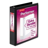 "Cardinal Performer ClearVue 3-Ring View Binder, 1 1/2"" Capacity, Slant-D Ring, Black CRD17401"