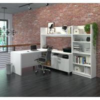 Bestar Pro-Linea L-Desk with Bookcase in White BESBES12089617