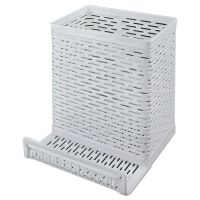 Artistic Urban Collection Punched Metal Pencil Cup/Cell Phone Stand, 3 1/2 x 3 1/2, White AOPART20014WH
