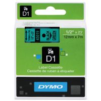 "DYMO D1 High-Performance Polyester Removable Label Tape, 1/2"" x 23 ft, Black on Green DYM45019"