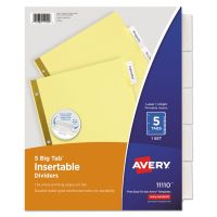 Avery Insertable Big Tab Dividers, 5-Tab, Clear Tab, Letter, 1 Set AVE11110