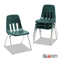 "Virco 9000 Series Classroom Chairs, 16"" Seat Height, Forest Green/Chrome, 4/Carton VIR901675"