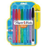 Paper Mate InkJoy 100 Ballpoint Stick Pen, 1mm, Assorted, 8/Set PAP1945932