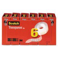 """Scotch Transparent Tape, 3/4"""" x 1000"""", 1"""" Core, Clear, 6/Pack MMM600K6"""