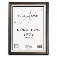 NuDell EZ Mount Document Frame w/Trim Accent, Plastic, 8-1/2 x 11, Black/Gold, 18/CT NUD11818