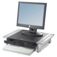 Fellowes Standard Monitor Riser, 19 7/8 x 14 1/16 x 6 1/2, Black/Silver FEL8031101