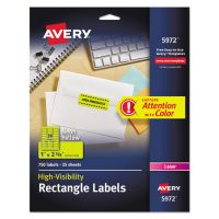 Avery High-Visibility Permanent ID Labels, Laser, 1 x 2 5/8, Neon Yellow, 750/Pack AVE5972