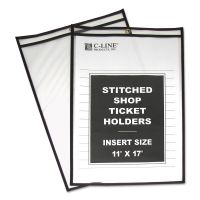 """C-Line Shop Ticket Holders, Stitched, Both Sides Clear, 75"""", 11 x 17, 25/BX CLI46117"""