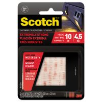 "Scotch Heavy Duty Fasteners, 1"" x 1"", Clear, 6/Pack MMMRFD7020"