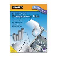 Apollo Plain Paper B/W Laser Transparency Film w/Handling Strip, Letter, Clear, 100/Box APOPP201C