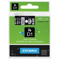 "DYMO D1 High-Performance Polyester Removable Label Tape, 1/2"" x 23 ft, White on Black DYM45021"