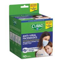 Curad Antiviral Medical Face Mask, Pleated, 10/Box MIICUR384S