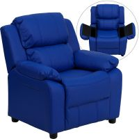 Flash Furniture Deluxe Padded Contemporary Blue Vinyl Kids Recliner with Storage Arms FHFBT7985KIDBLUEGG