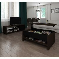 Bestar Small Space 2-Piece Lift-Top Storage Coffee Table and TV Stand Set in Dark Chocolate and Black BESBES1685079