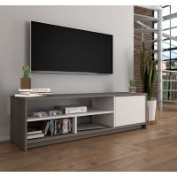 Bestar Small Space 53.5-inch TV Stand in Bark Gray and White BESBES162001147