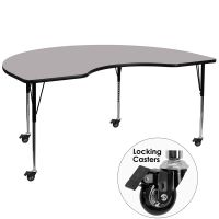 Flash Furniture Mobile 48''W x 72''L Kidney Shaped Activity Table with Grey Thermal Fused Laminate Top and Standard Height Adjustable Legs FHFXUA4872KIDNYGYTACASGG