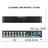 Night Owl 16 Channel Extreme HD 3MP DVR with 1 TB Hard Drive, 1080p Resolution NGTDVRX3161