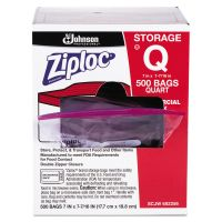 Ziploc Double Zipper Plastic Storage Bag, 1.75 mil, 1qt, Clr, Write-On ID Panel, 500/BX SJN682256