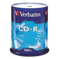 Verbatim CD-R Discs, 700MB/80min, 52x, Spindle, Silver, 100/Pack VER94554
