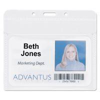 "Advantus PVC-Free Badge Holders, Horizontal, 4"" x 3"", Clear, 50/Pack AVT75603"