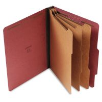Universal Pressboard Classification Folder, Letter, Eight-Section, Red, 10/Box UNV10290