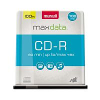 Maxell CD-R Discs, 700MB/80min, 48x, Spindle, Silver, 100/Pack MAX648200