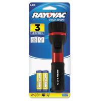 Rayovac Flashlight, Rubber & Aluminum, 3 V, LED, Red/Black, 2 AA RAY2AALEDB