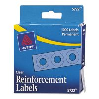 """Avery Dispenser Pack Hole Reinforcements, 1/4"""" Dia, Clear, 1000/Pack AVE05722"""