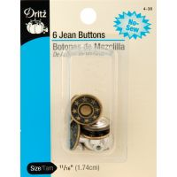 "No-Sew Jean Buttons 11/16"" 6/Pkg NOTM092545"