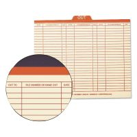 """Smead Charge-Out Record Guides, 1/5, Red """"OUT"""" Tab, Manila, Letter, 100/Box SMD51910"""