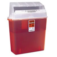 Medline Sharps Container for Patient Room, Plastic, 3gal, Rectangular, Red MIIMDS705203H