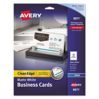 Avery True Print Clean Edge Business Cards, Inkjet, 2 x 3 1/2, White, 200/Pack AVE8871