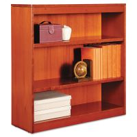 Alera Square Corner Wood Bookcase, Three-Shelf, 35-5/8 x 11-3/4 x 36, Medium Cherry ALEBCS33636MC