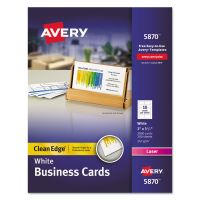 Avery Clean Edge Business Card Value Pack, Laser, 2 x 3 1/2, White, 2000/Box AVE5870