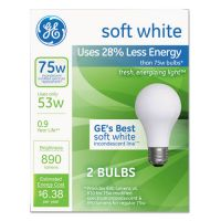 GE Halogen A-Line Bulb, A19, 75 Watts, 2/Pack GEL63004