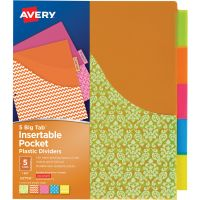 Avery&reg Big Tab Pocket Plastic Insertable Dividers - Student Designs AVE07714