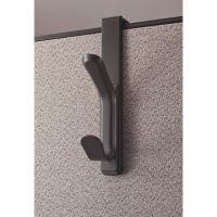 Officemate Over the Panel Coat Hooks, 2 Plastic Hooks, 10lb Capacity, Gray OIC22005