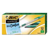 BIC Round Stic Grip Xtra Comfort Ballpoint Pen, Green Ink, 1.2mm, Medium, Dozen BICGSMG11GN