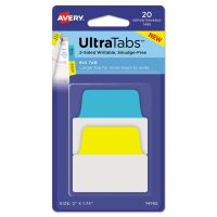 Avery Ultra Tabs Repositionable Tabs, 2 x 1 3/4, Primary: Blue, Yellow, 20/Pack AVE74765