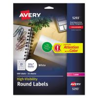 Avery High-Visibility Round Permanent ID Labels, Laser, 1 2/3 dia, White, 600/Pack AVE5293