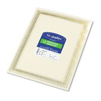 Geographics Foil Enhanced Certificates, 8-1/2 x 11, Gold Flourish Border, 12/Pack GEO45492