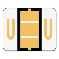 Smead A-Z Color-Coded Bar-Style End Tab Labels, Letter U, Light Orange, 500/Roll SMD67091
