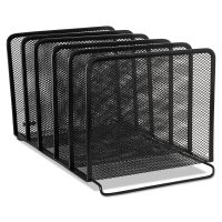 Rolodex Mesh Stacking Sorter, Five Sections, Metal, 8 1/4 x 14 3/8 x 7 7/8, Black ROL22141
