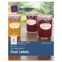 Avery Textured White Oval Labels AVE8216