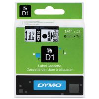 "DYMO D1 High-Performance Polyester Removable Label Tape, 1/4"" x 23 ft, Black on Clear DYM43610"