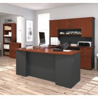Bestar Manhattan U-shaped workstation with lateral file and bookcase in Bordeaux & Graphite BESBES8185039