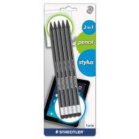 Staedtler Wopex Pencil with Stylus, Green/Black, 5/Pack STD182SBK5