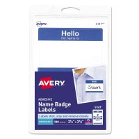 "Avery Printable Self-Adhesive Name Badges, 2 1/3 x 3 3/8, Blue ""Hello"", 100/Pack AVE5141"